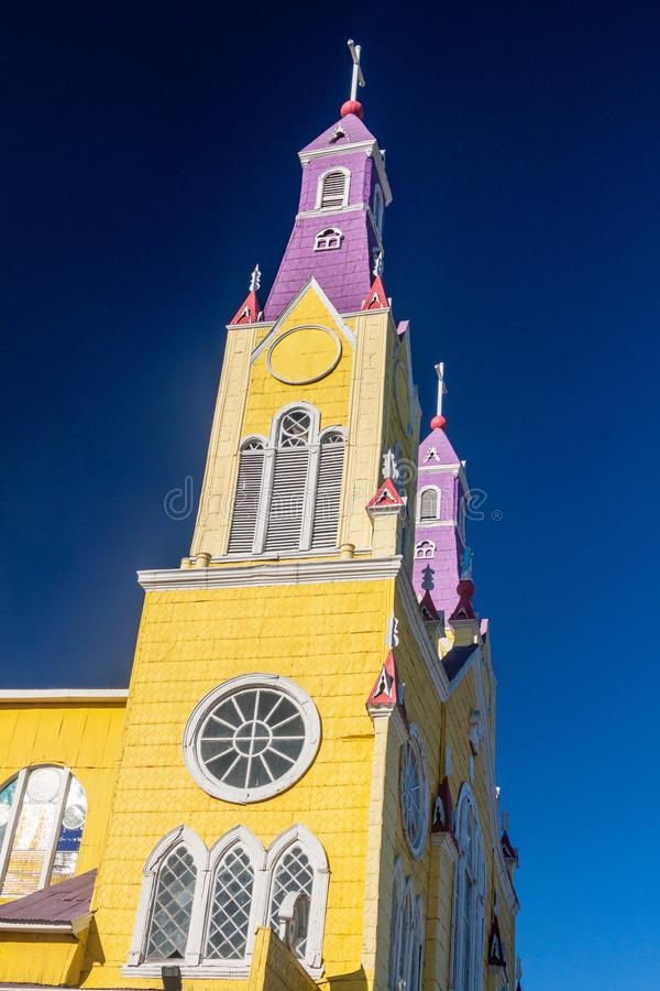 San Francisco church in Castro. Chiloe island, Chile royalty free stock photo