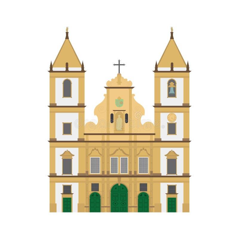 San Francisco Church, Salvador de Bahia, ejemplo del vector del Brasil ilustración del vector