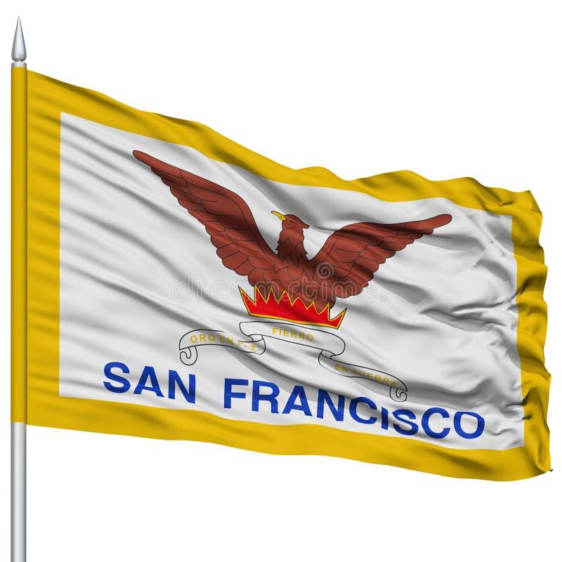 San Francisco City Flag sull'asta della bandiera, U.S.A. royalty illustrazione gratis