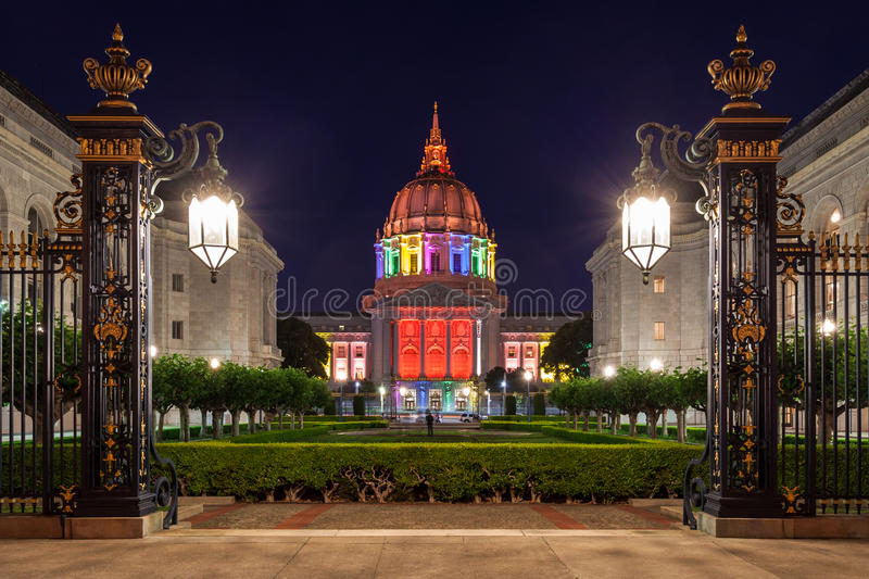 San Francisco City Hall in Rainbow Colors stock photography