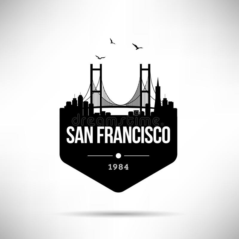 San Francisco City Modern Skyline Vector Template royalty free illustration