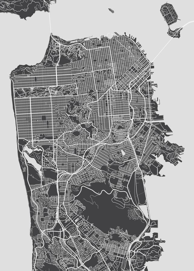 Free San Francisco City Plan, Detailed Vector Map Stock Image - 109999221