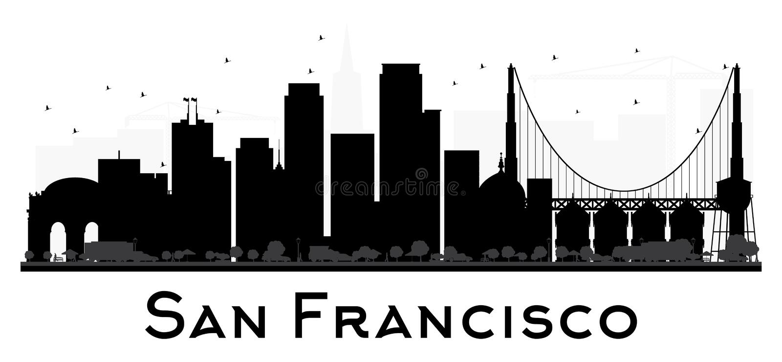 San Francisco City skyline black and white silhouette. stock illustration
