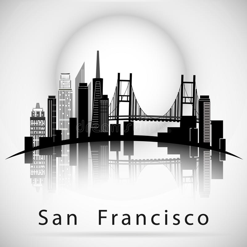San Francisco city skyline silhouette vector illustration