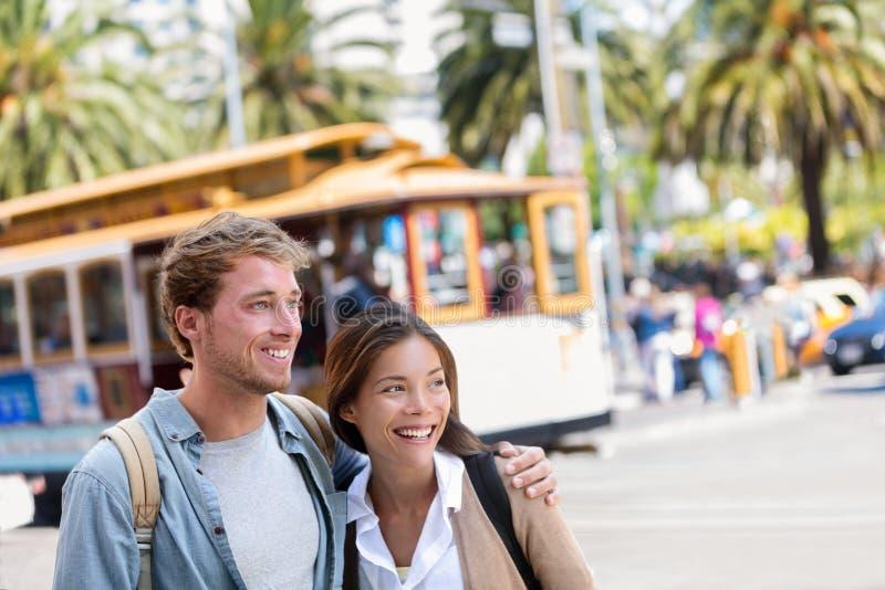 San Francisco city travel couple tourists stock images