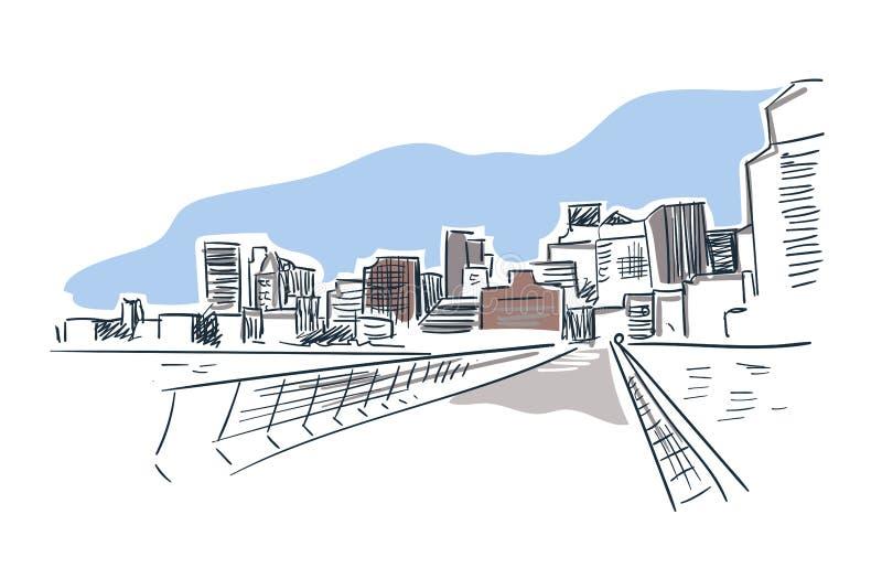 San Francisco city vector sketch landscape line illustration skyline royalty free illustration