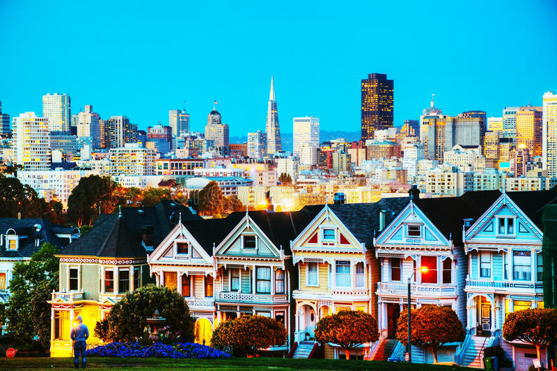 San Francisco cityscape as seen from Alamo square park stock photography