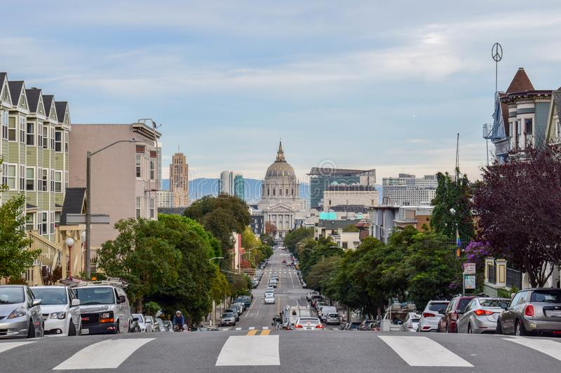 San Francisco Cityscape with City Hall and Victorian Houses royalty free stock photo