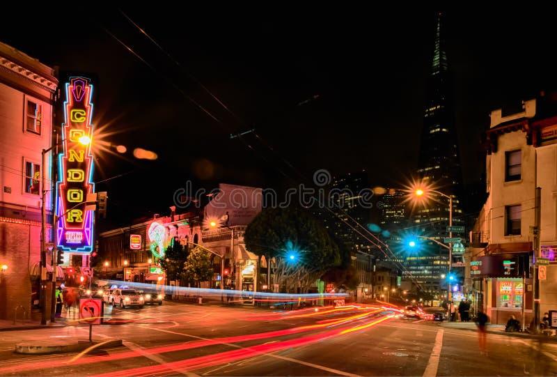 San Francisco - Condor Club and Transamerica Pyramid stock image