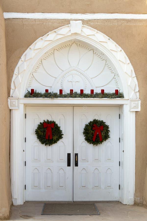 San Francisco de Asis Mission Church Entrance, Taos, Nouveau Mexique images libres de droits