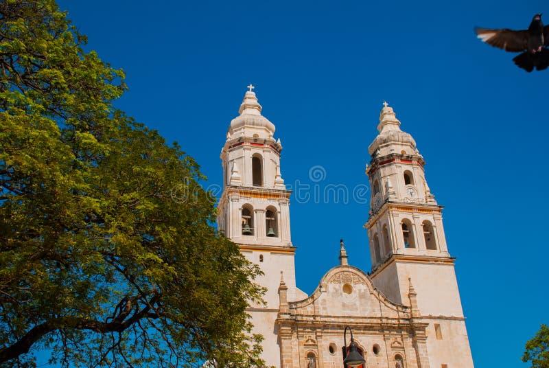 San Francisco de Campeche, Mexico Domkyrka i Campeche på en bakgrund för blå himmel royaltyfri foto