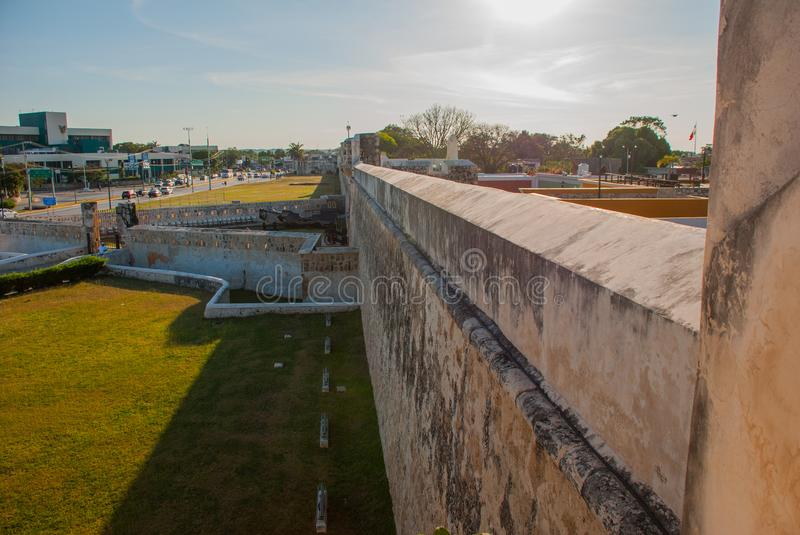 San Francisco de Campeche, Mexico. Top view from the fortress walls of the old fortress stock images