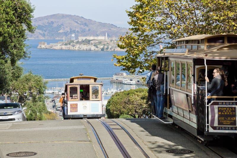 SAN FRANCISCO - de Kabelwagentram stock foto's
