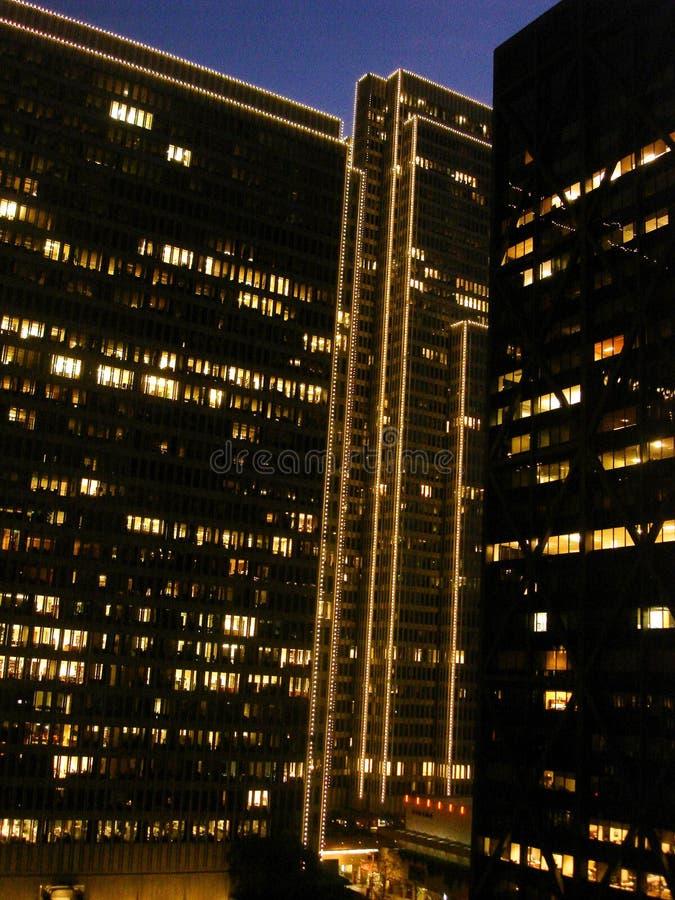 San Francisco, distretto finanziario, sera, luci di festa fotografia stock libera da diritti