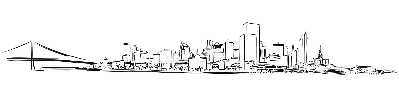San Francisco Downtown Outline Sketch lizenzfreie abbildung