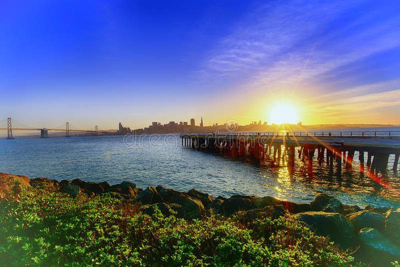 San Francisco Downtown Sunset stock images