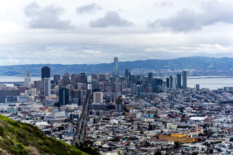 San Francisco downtown view at Twin Peaks , San Francisco, CA royalty free stock photos