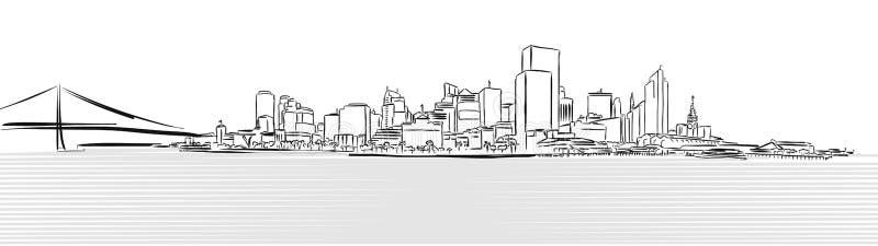 San Francisco Downtown von Pier Sketch lizenzfreie abbildung