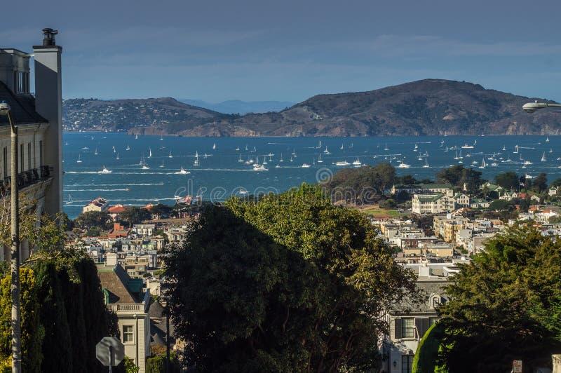San Francisco en de baai van San Francisco, de V.S. stock foto