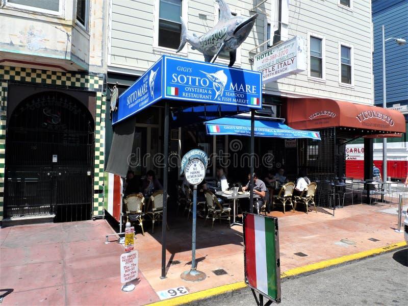 San Francisco en italiensk restaurang fotografering för bildbyråer