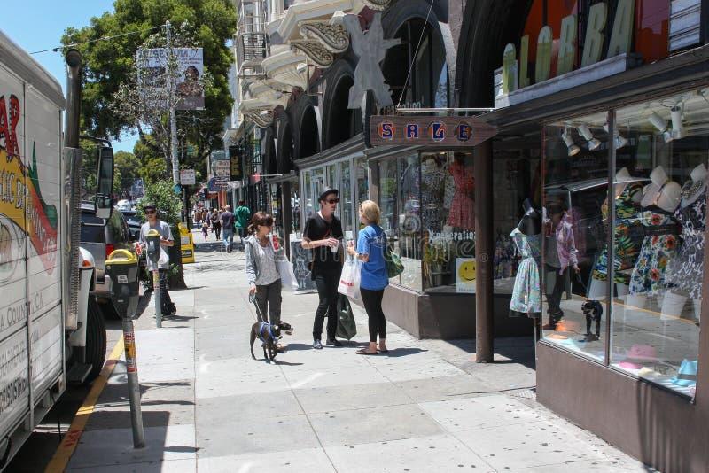 San Francisco, EUA - 11 de junho de 2010 Conversa da hippie nas ruas de San Francisco Juventude informal Rapariga com um cão fotografia de stock royalty free