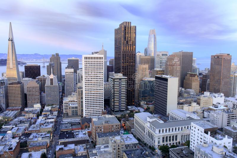 San Francisco Financial District view from above. stock photo