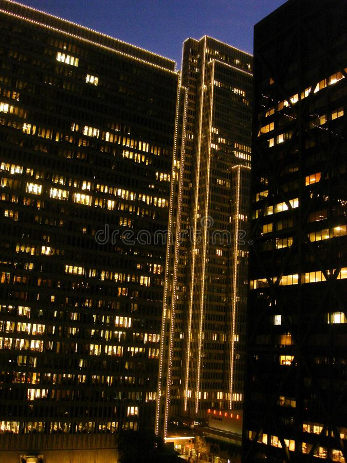 San Francisco, Finanzbezirk, Abend, Lichterkette lizenzfreies stockfoto