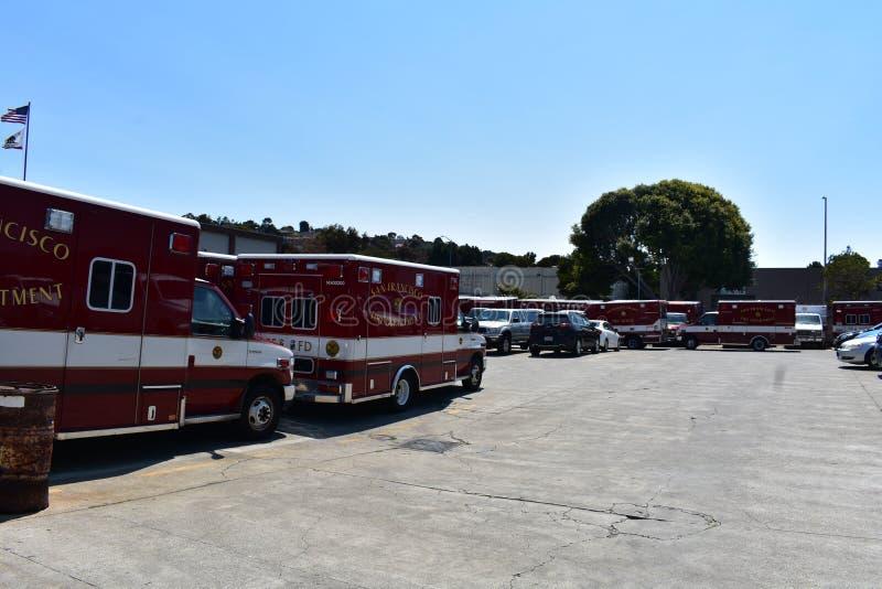 San Francisco Fire Department Ambulance Dispatch mitt, 2 fotografering för bildbyråer