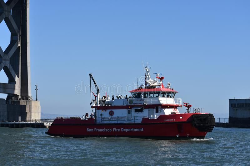 San Francisco Fire Department`s newest fireboat, number 3, 2. royalty free stock photo