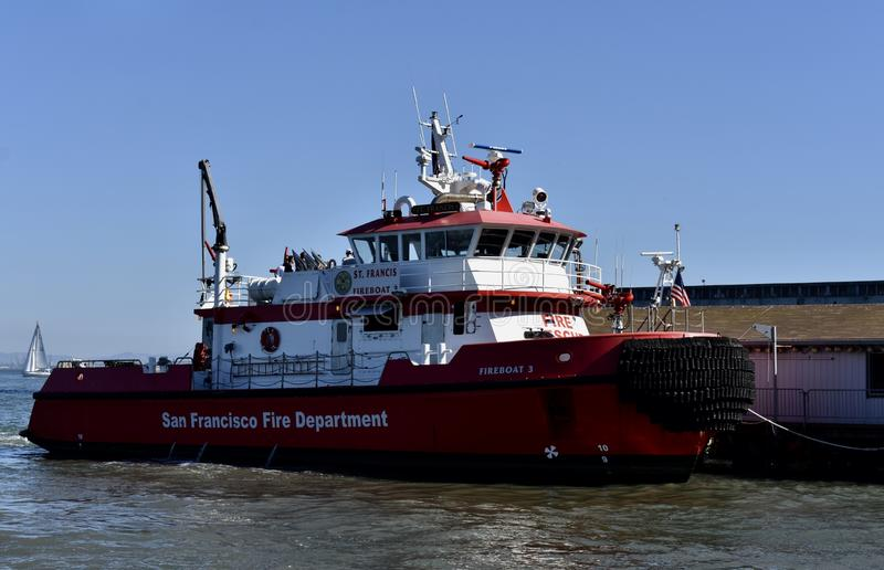 San Francisco Fire Department`s newest fireboat, number 3, 1. stock photos