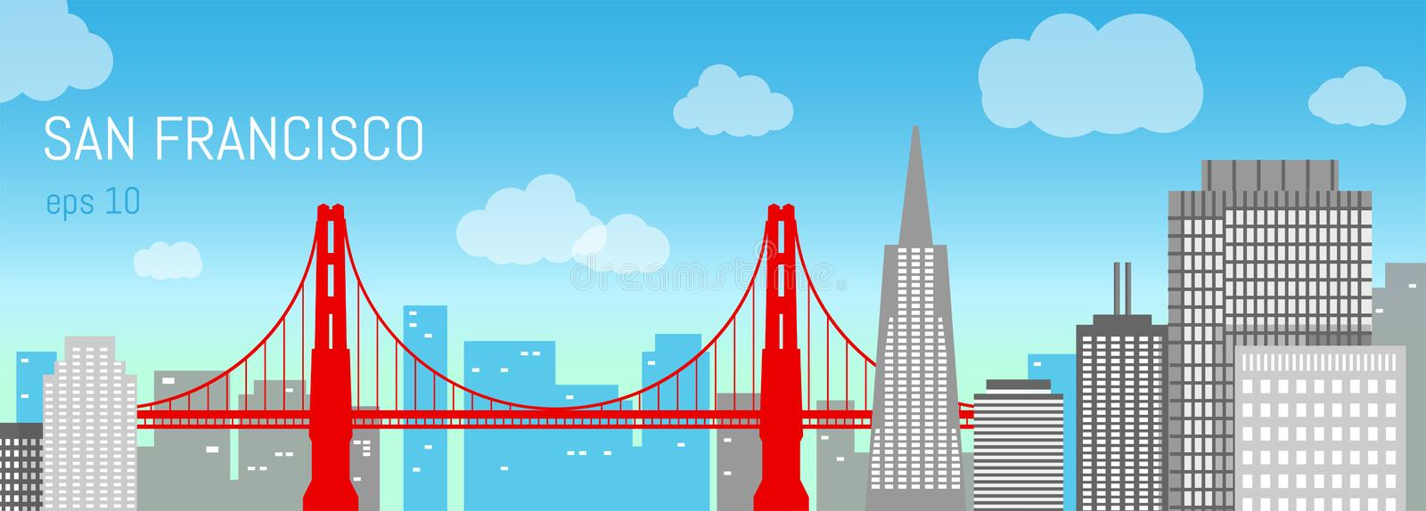 San Francisco flat illustration. Day view. stock images
