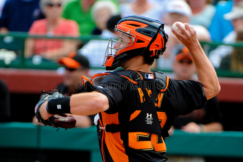 San Francisco Giants Catcher #28 Buster Posey. Behind the plate catching during the game in Scottsdale Arizona stock photos