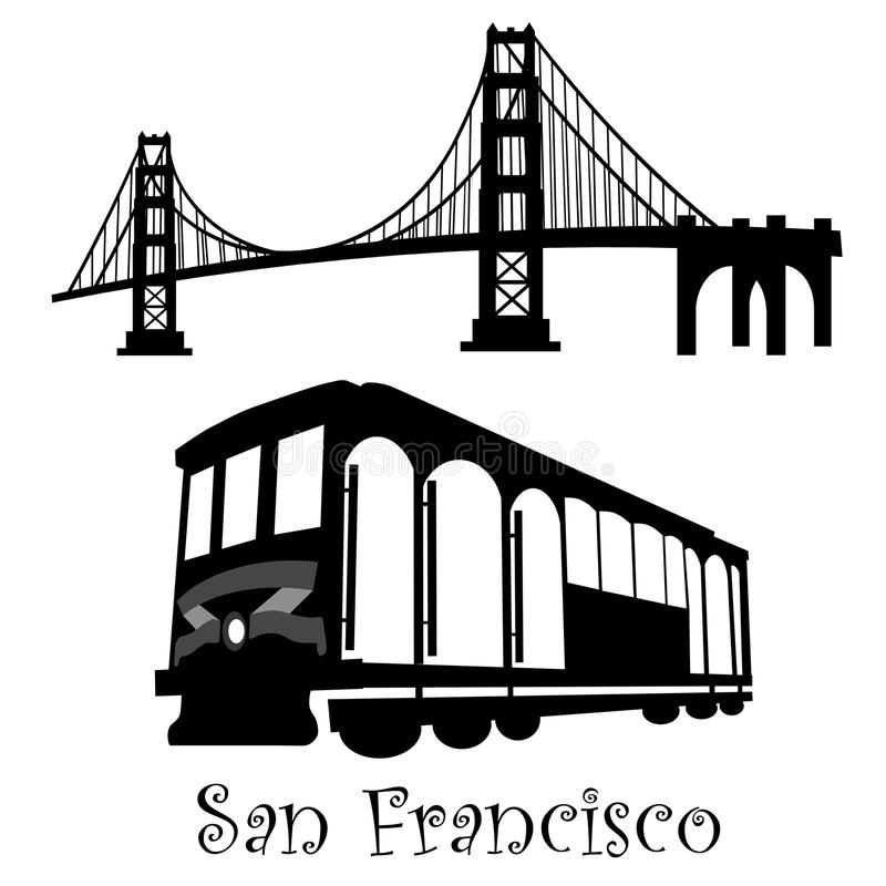 San Francisco Golden Gate Bridge Cable Car. San Francisco Golden Gate Bridge and Cable Car Trolley Illustration Black and White royalty free illustration