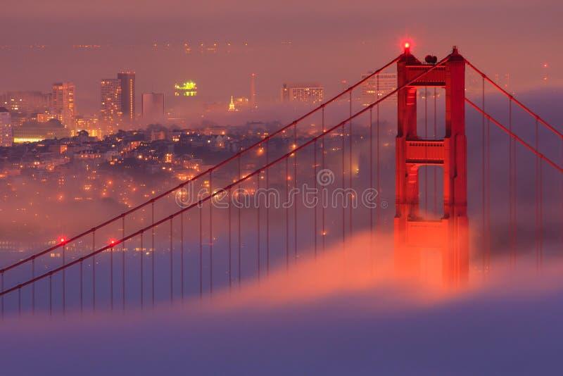 San Francisco Golden Gate Bridge in fog stock photography