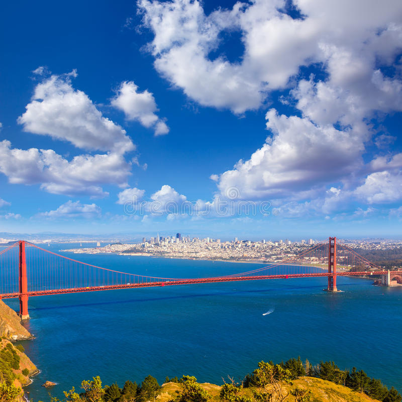 San Francisco Golden Gate Bridge Marin headlands California. Golden Gate Bridge San Francisco GGB from Marin headlands in California USA royalty free stock photo