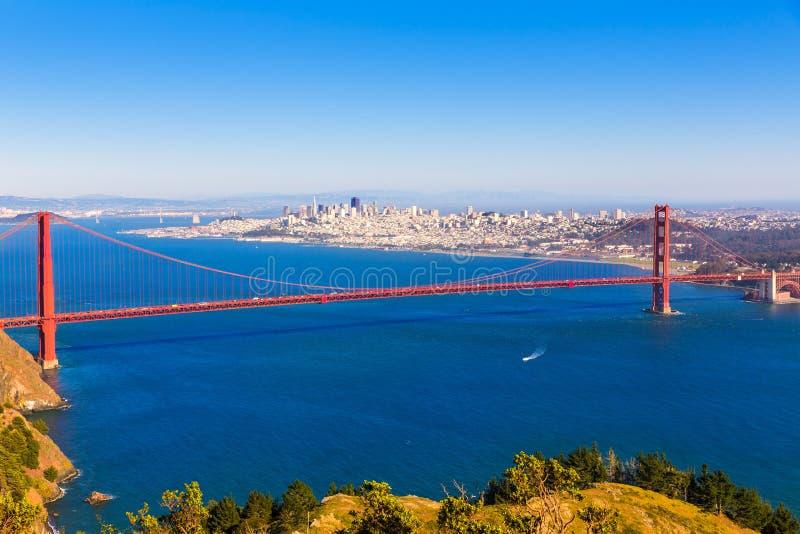 San Francisco Golden Gate Bridge Marin headlands California. San Francisco Golden Gate Bridge GGB from Marin headlands in California USA royalty free stock photo