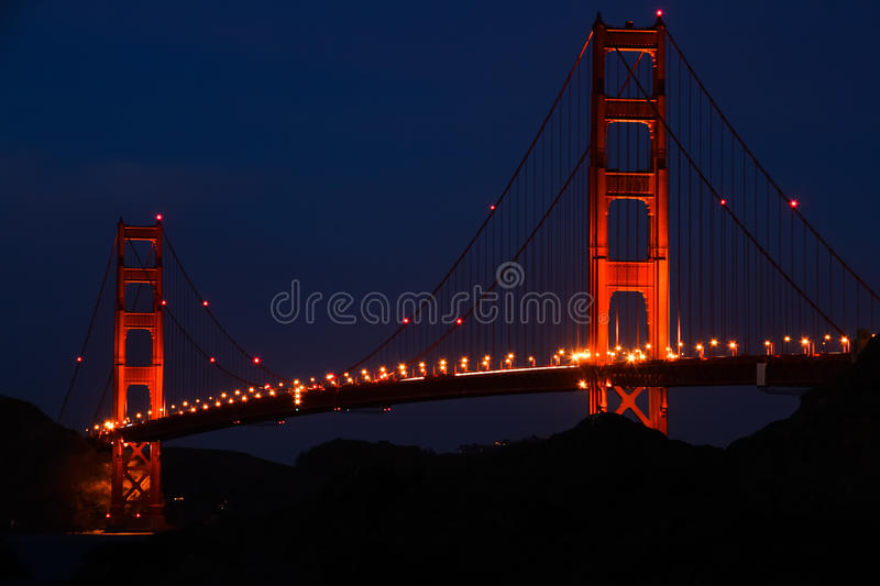 San Francisco - golden gate bridge a penombra fotografia stock libera da diritti