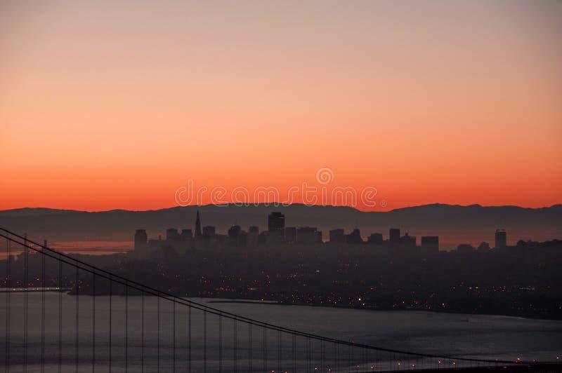 San Francisco gryningsoluppgång royaltyfri bild