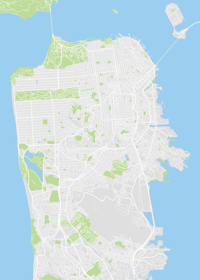 San Francisco ha colorato la mappa di vettore illustrazione vettoriale