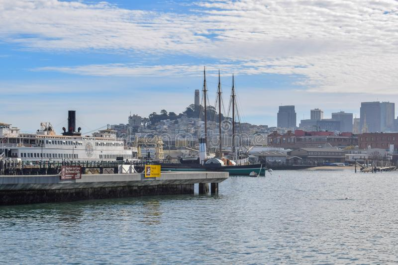 San Francisco Harbor in the Fisherman's Wharf District on a Sunny Day stock images