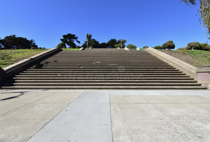 The movie damaged steps of Alta Plaza Park, 1. stock image