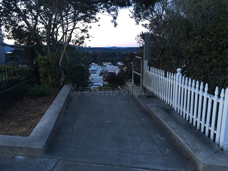 15Th Avenue steps, one of San Francisco`s smallest, UNofficial parks, 12. San Francisco has many beautiful, and well known, parks, as well as hills. There are royalty free stock images