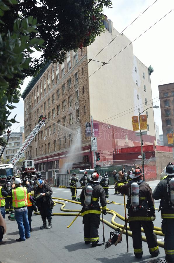 San Francisco Hotel Fire. Afternoon fire at San Francisco Hotel stock photos