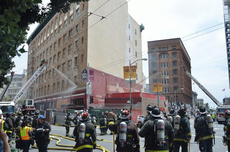 San Francisco Hotel Fire. Afternoon fire at San Francisco Hotel stock image