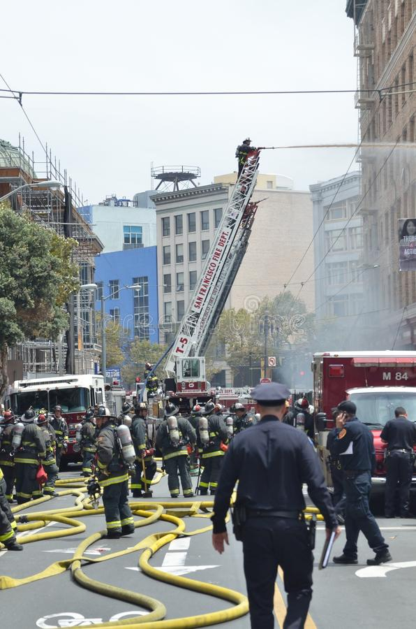 San Francisco Hotel Fire. Afternoon fire at San Francisco Hotel royalty free stock photo
