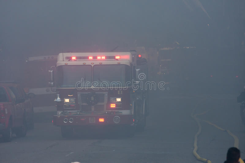 San Francisco - houses on fire. SAN FRANCISCO, CA - DECEMBER 22: Large fire of three apartment buildings in Western Addition district December 22, 2011 in San royalty free stock image