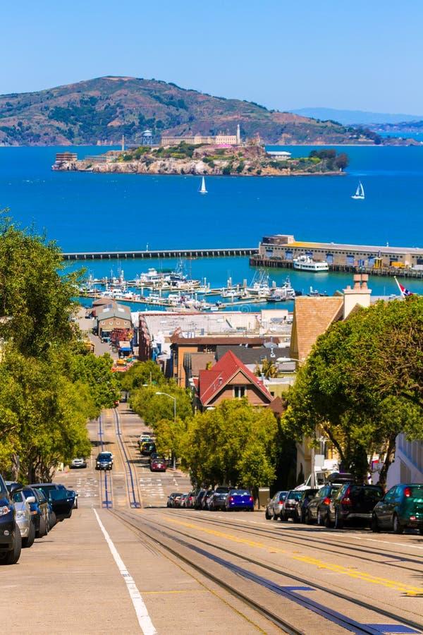 San francisco Hyde Street and Alcatraz island royalty free stock photos