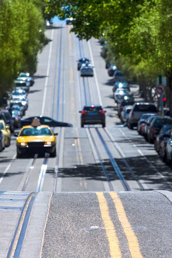 San Francisco Hyde Street Nob Hill in California royalty free stock photos