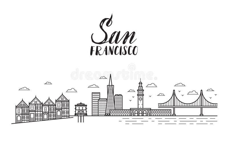San Francisco illustration with modern lettering, city buildings vector illustration