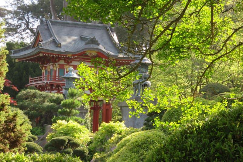 San francisco Japoński Herbaciany ogród w golden gate parku Wiosna Czerwona pagoda obrazy stock